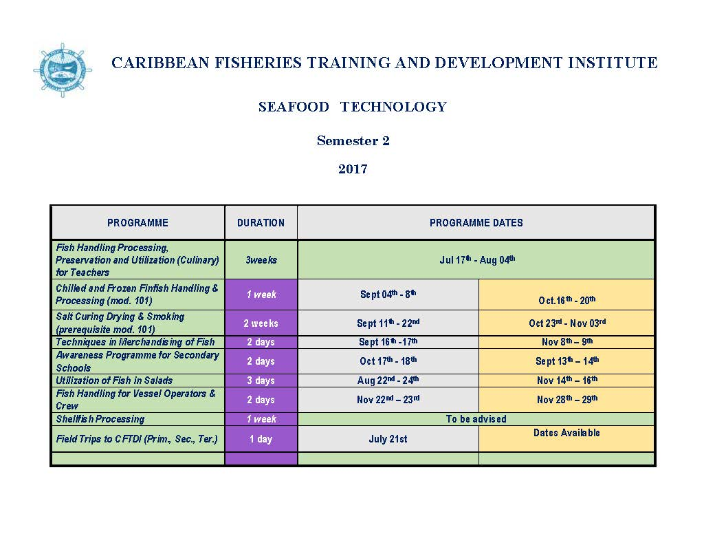 Seafood Processing semester 2 schedule 2017