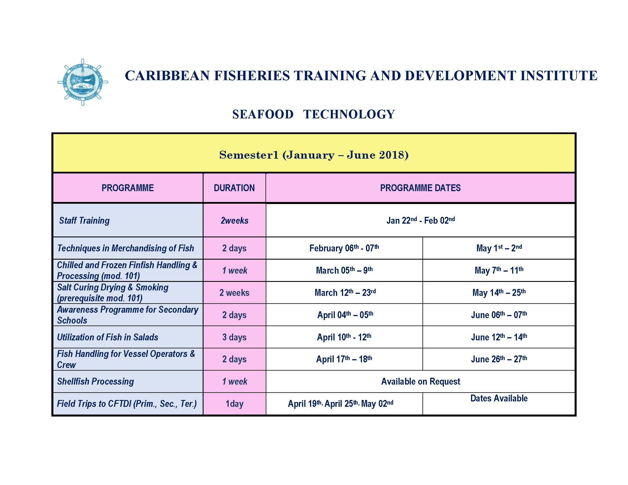 Seafood Processing semester 1 schedule 2018