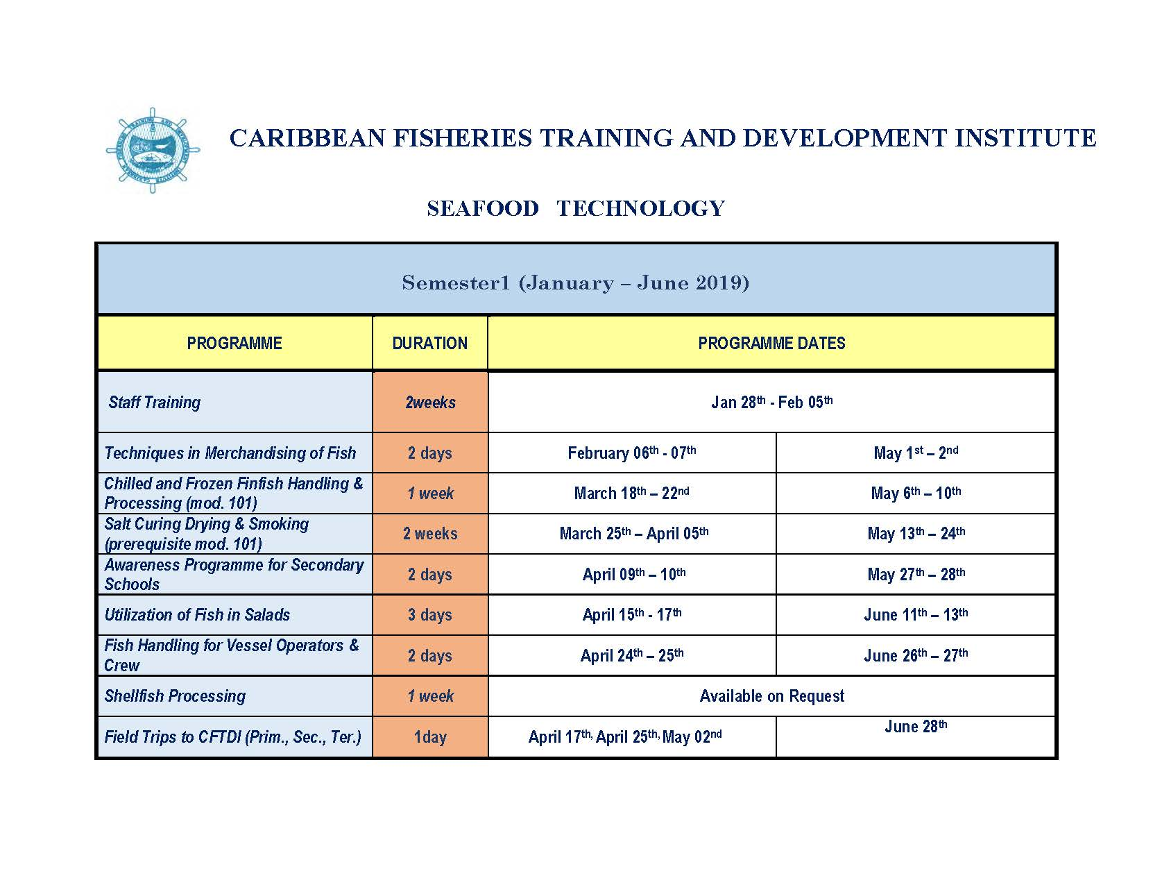 Seafood Processing semester 1 schedule 2019