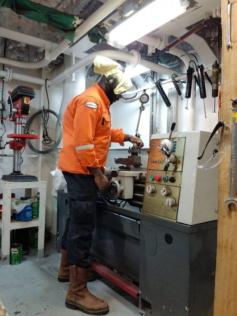 Atiba Campbell - Machining a new shaft for a cargo water pump